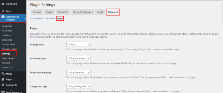 ACADP Page Settings